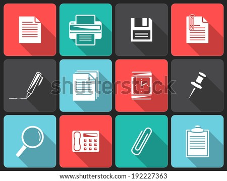 Office icons.Flat icons with shadow. - stock vector