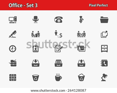 Office Icons. Professional, pixel perfect icons optimized for both large and small resolutions. EPS 8 format. - stock vector