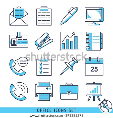 Office icons set lines vector illustration - stock vector