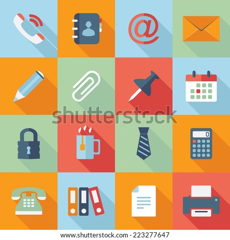 Office icons. Vector collection of flat and colorful web icons - stock vector