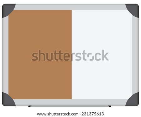 Office information combined board, the combination of plastic and cork surfaces. Vector illustration. - stock vector