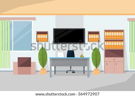 Office Interior Desk Working Place Room Flat Vector Illustration - stock vector