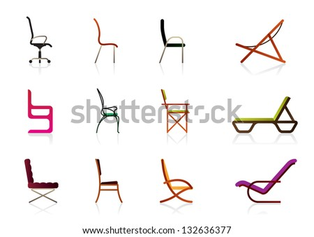 Office, interior, plastic and luxury chairs - vector illustration - stock vector