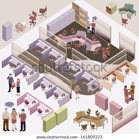 office isometric vector. workstation, lobby, manager room, meting room - stock vector