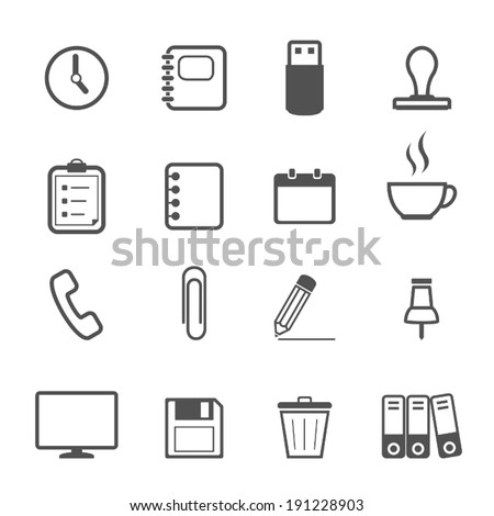 office line icon set - stock vector