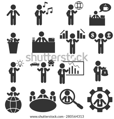 office man icons set - stock vector