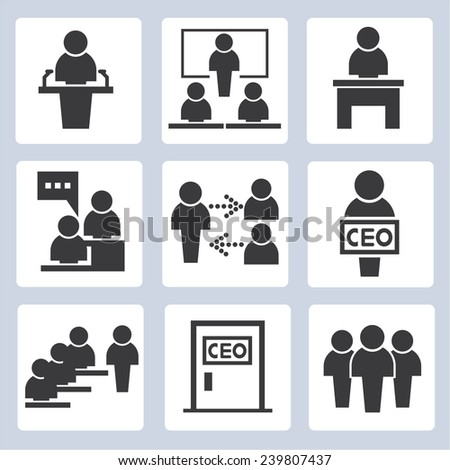 office management icons, business management icons set - stock vector
