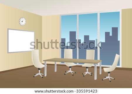 Office meeting room beige table chair window illustration vector - stock vector