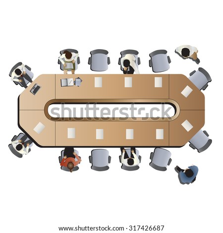 Office meeting top view set 3 for interior ,vector illustration - stock vector