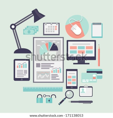 Office objects. Flat icons. Vector illustration. - stock vector