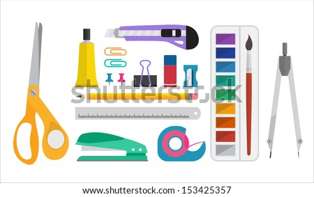 Office or School  supplies set - Flat design style - stock vector