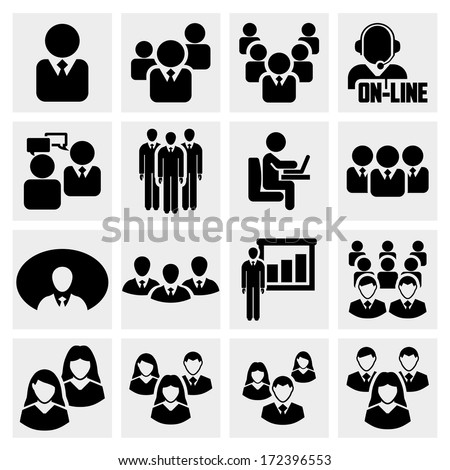 Office people vector icons set on gray - stock vector