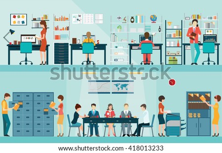 Office people with office desk and Business meeting or teamwork, brainstorming in flat style vector illustration. - stock vector