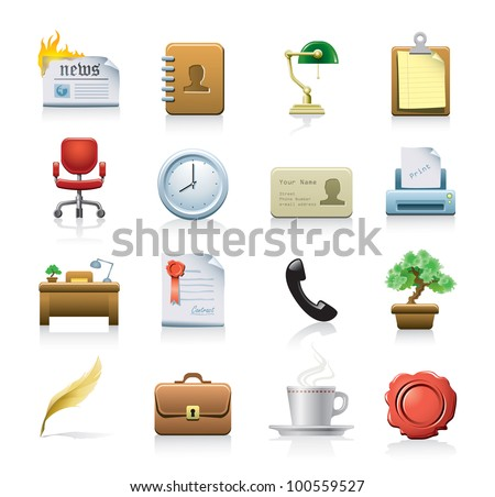 office related icons - stock vector