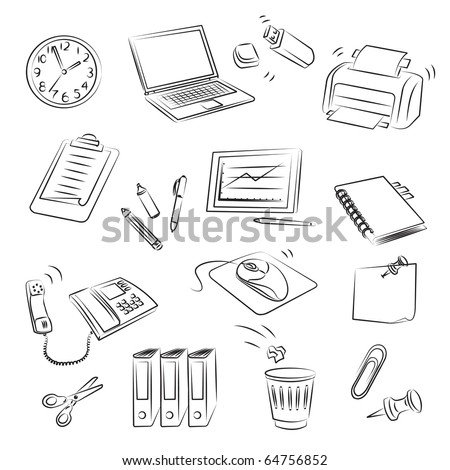 Office Set - stock vector