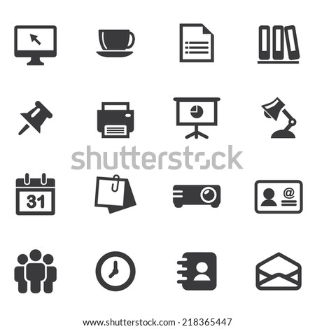 Office Silhouette Icons 1 - stock vector