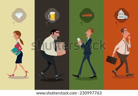 Office staff are daydreaming. - stock vector