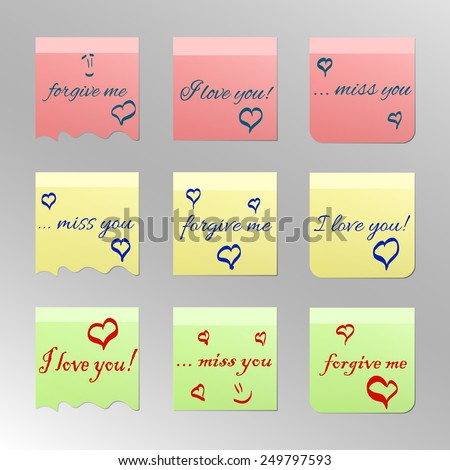 Office Stickers with words love you, miss you and forgive me - stock vector