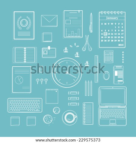 Office Supplies Collection Flat Clean Lines Monochrome Illustration on Blue. Business one color organization objects set. Vector design. - stock vector
