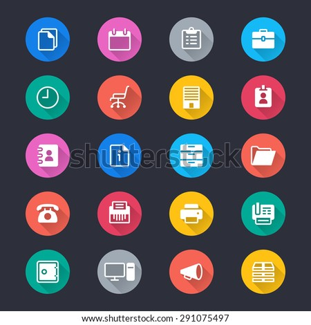 Office supplies simple color icons - stock vector