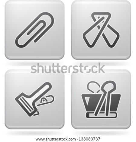 Office Supply Objects: 4 different kind of paper clip. - stock vector