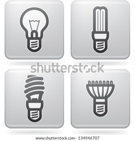 Office Supply (objects, tools), from left to right, top to bottom:   Classic lightbulb, Fluorescent eco lightbulb,Spiral fluorescent eco lightbulb, Led eco lightbulb. - stock vector