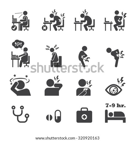 office syndrome icon - stock vector