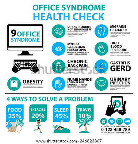 Office syndrome Infographics and icons - stock vector