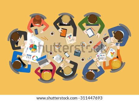 Office table top view business flat web infographic concept vector. Staff around table report analytics working tablet laptop empty background. Brainstorm report planning. Creative people collection. - stock vector