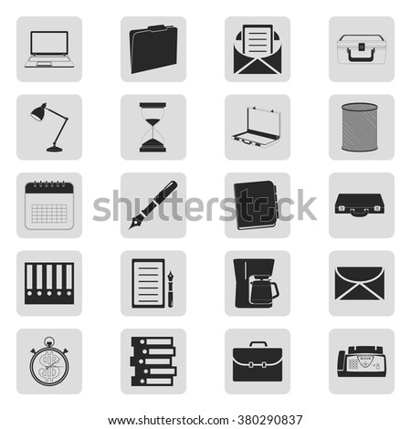 Office tools business 20 simple icons  set - stock vector