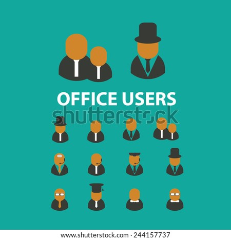 office users, avatar, worker, web, marketing icons, signs, illustrations on background, vector set - stock vector