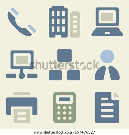 Office web icons money color set - stock vector