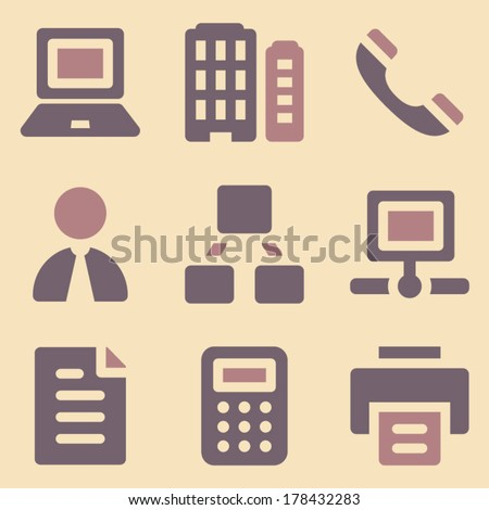 Office web icons retro color series - stock vector