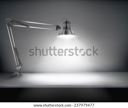 Office with a desk lamp. Vector illustration. - stock vector