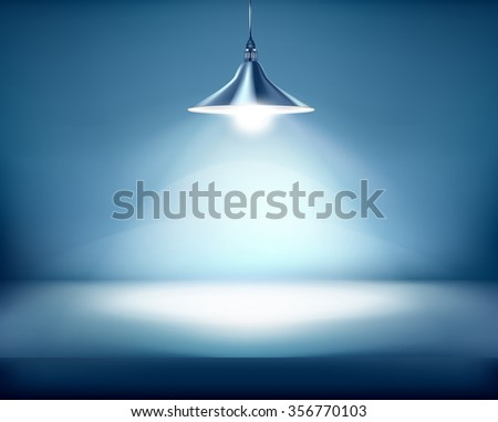 Office with hanging lamp. Vector illustration. - stock vector