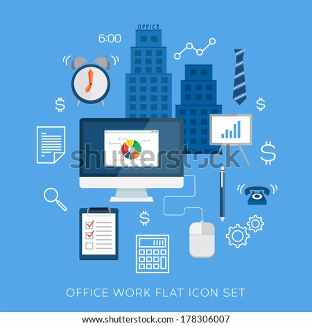 Office work flat vector icon set - stock vector