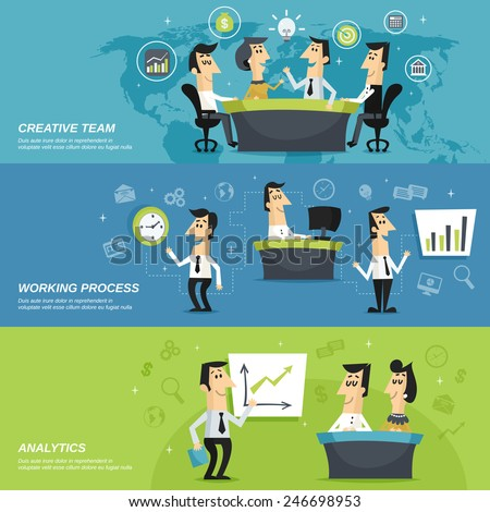 Office work team creative planning strategy and analytic results presentation horizontal banners set abstract isolated vector illustration - stock vector
