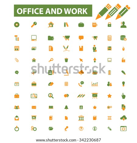 office work web  icons, signs vector concept set for infographics, mobile, website, application  - stock vector