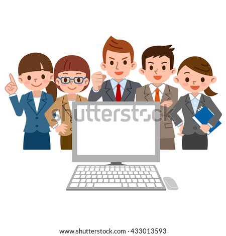 office worker gathers and looks at the PC - stock vector