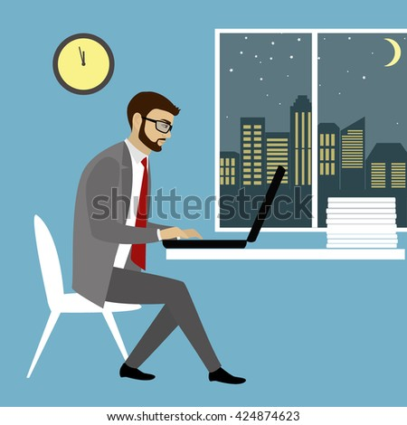 Office worker  or businessman Working On laptop Computer.Night work.Cartoon vector illustration - stock vector