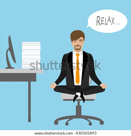 Office worker relaxes and meditates in the lotus position on the job, vector illustration - stock vector