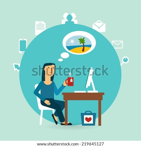 office worker thinking about the beach illustration - stock vector