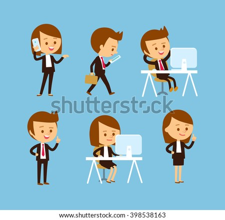 office workers at the simple style - stock vector