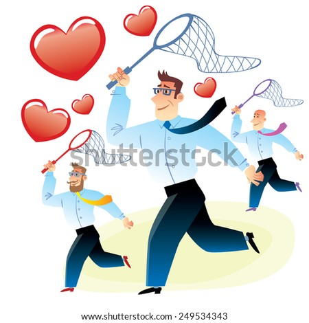 office workers men in search of love caught red heart butterfly net for butterflies - stock vector
