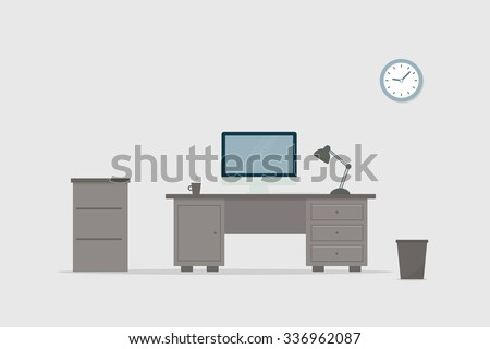 Office workplace. Computer desk.  - stock vector