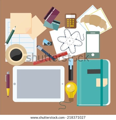 Office workspace with business items and elements - stock vector
