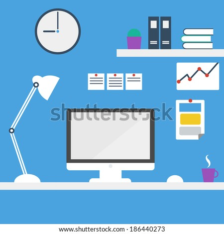 Office workstation. Computer desk. Computer in workspace, vector  - stock vector