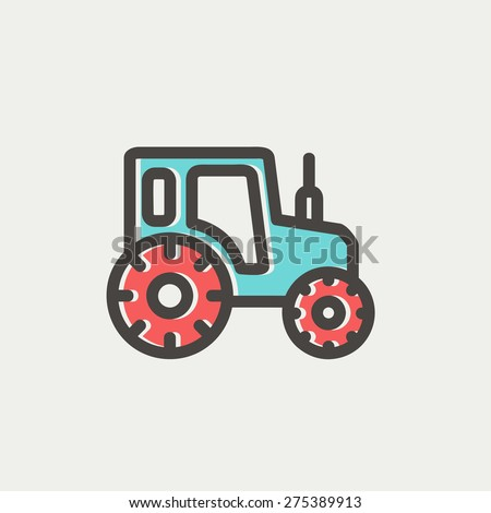 Offroad car icon thin line for web and mobile, modern minimalistic flat design. Vector icon with dark grey outline and offset colour on light grey background. - stock vector