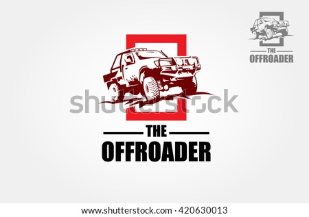 Offroad pickup truck design elements, 4x4 vehicle illustration. Suv car logo template. - stock vector