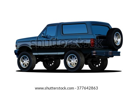 Offroad SUV vehicle. Vector EPS10 isolated, separated layers, quick repaint - stock vector